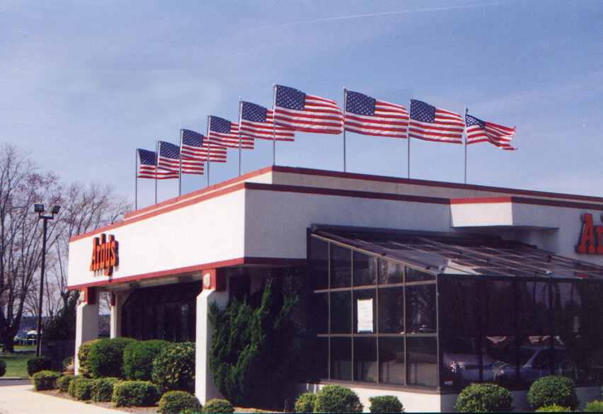 American flags on an Arby's Rooftop display