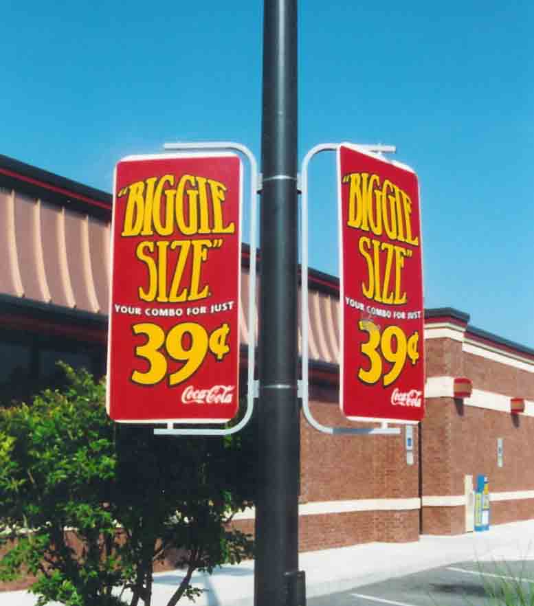 Avenue Banner Brackets as pole displays at Wendys