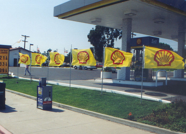 Sidewalk displays of Shell gas station flags